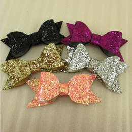 Wholesale Wholesale Gift Wrapping Bows - 83*39*8mm sequins glitter bow printed polyester ribbon 250 pieces, DIY handmade materials, wedding gift wrap HOT SALE