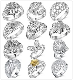 Wholesale Wholesale Flower Jewelry - Mixed style 925 Sterling silver flower finger ring fashion jewelry new design Christmas gift for women Free shipping
