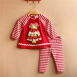 Wholesale Blouse Girls Years - Free Shipping 6 Sets lot NEW 6M-3T Rare editions Christmas Tree Girl Red Stripe Blouse and Pants New Year Outfit