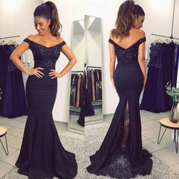 Wholesale Elastic For Beading - 2018 Navy Blue Lace Applique Mermaid Prom Dresses Off The Shoulder Mermaid Beading Bridesmaid Dress For Party Gowns BA7159
