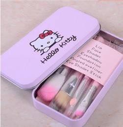 Wholesale Make Up Beauty Case - Iron Case Hello Kitty Make Up Cosmetic Brush Kit Makeup Brushes Pink Iron Box Toiletry Beauty Appliances 7pcs Brushes set