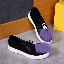 Wholesale Cartoon Shoe Laces - 2017Fendi New style female shoes Cartoon character and purple plush decoration footwear Flat and comfortable Outdoor shoes