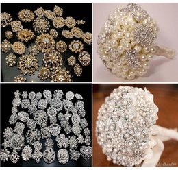 Wholesale Sparkly Brooches - 20PX Sparkly Silver Gold Clear Rhinestone Crystal Diamante Flower Pins Wedding Cake Bouquet Pin Brooch