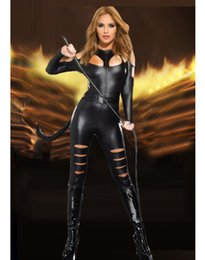 Wholesale Sexy Pvc Vinyl Lingerie - Vinyl Sexy Leather PVC Catsuit Cosplay Animal Costumes For Womens Black Latex Rubber Clothing Lingerie Bodysuits With Whip