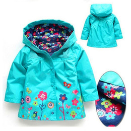 Wholesale Raincoats For Babies - Girls Flower Raincoat Jacker 9 color Kids Winter Coat Flower Jacket For Windproof Outwear 2~7y Baby Girls Clothes LA550