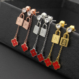 Wholesale Numbered Locks - Ornament wholesale single drill lock head red flower earrings and women's ear nail foreign trade lock Earrings