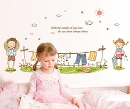 Wholesale Wall Decals Hanger - New Arrival Clothes Hanger Wall Decals Cartoon Style Cute Stickers For Girl Bedroom for nursery Children Room wall decals140*60