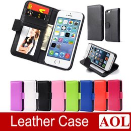 Wholesale Iphone 4s Case Wallet Style - Wallet Style Flip PU Leather Case with Photo & Card Holder For Apple iphone 6   6 Plus 5s 4s Smart Stand Bags Cover