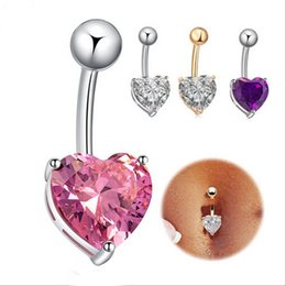 Wholesale Heart Shaped Ring Rhinestone Crystal - Fashion Womens Pink Purple White Crystal Rhinestone Heart-shaped Navel Rings Sexy Bar Button Rings Belly Piercing Jewelry 3 Colors Wholesale