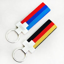 Wholesale Audi A4 Styling - Sporty RS Logo Canvas Key Ring Styling Metal Germany Flag Keychain Keyring for Audi A3 A4 A5 A6 A8 TT Q5 Q7