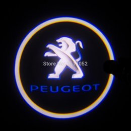 Wholesale Peugeot Light Logo - 2pcs Led Auto Logo   For PEUGEOT Car 3D Welcome Light Door Projector Laser Ghost Shadow Lights Lamp Universal