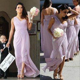 Wholesale Cheap Peplum Wedding Dresses - One Shoulder Bridesmaid Dresses Pleats Light Purple Bridesmaid Dresses Cheap Split Front Zipper Back Party Dresses For Wedding