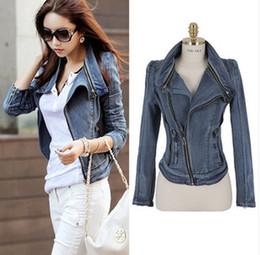 Wholesale Studded Jeans Short Woman - Free shipping New fashion Star jeans women Punk spike studded shrug shoulder Denim cropped VINTAGE jacket coat Zipper Denim Coat