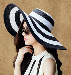 Wholesale Packing Cap Hat - 2PCS Women Wide Large Big Brim Hats Summer Beach Sun Straw Beach Derby Blue Black and White Stripe Hat Caps Flexible Packing