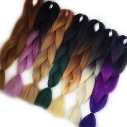 Wholesale two tone synthetic braiding hair - VERVES Ombre Kanekalon Braiding Hair braid 100g piece Synthetic Two Tone High Temperature Fiber Kanekalon Jumbo Braid Hair Extensions