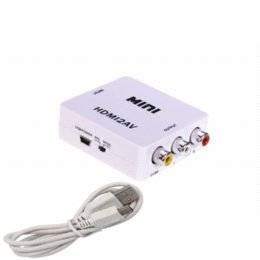 Wholesale Cable Hd Converter Box Hdmi - Mini HD Video Converter Box HDMI to AV CVBS L R Video Adapter 1080P HDMI2AV Support NTSC and PAL Output Free shipping
