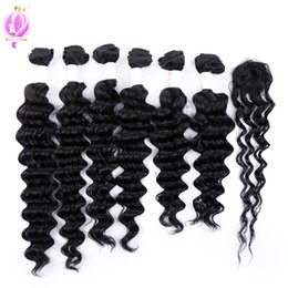 Wholesale Colored Brazilian Hair - DOHEROINE Pre-colored 1# Brazilian Remy Hair Deep Wave & Loose Wave 6 Bundles With Closure Human Hair Bundles With Lace Top Closure