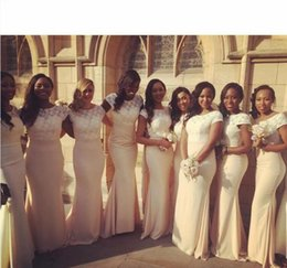 Wholesale Traditional Long Sleeves Wedding Gowns - African Traditional 2016 Bridesmaid Dresses Jewel Neck Lace Sheer Short Sleeves Maid Of Honor Dresses For Wedding Mermaid Prom Evening Gowns