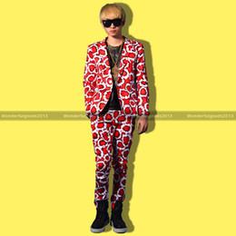 Wholesale Splash Suit - Wholesale-Cool Men Red Splashed Ink Pattern DJ Stage Designer Suit Set Jacket Blazer Pants