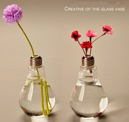 Wholesale Decoration Bulb - New Arrive Light bulb transparent glass vase modern fashion hydroponic flower vase decoration vase