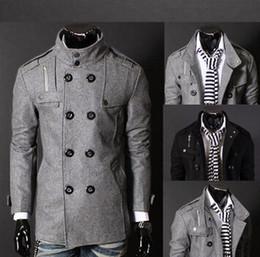 homens de design elegante Desconto Os homens Slim projetaram o revestimento morno quente do inverno O Outerwear de lã à moda quente do sobretudo do Pea dobro