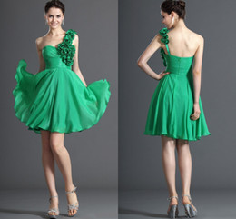 Wholesale Embellished Flowers - Hot Sale Green Floral Embellished One-Shoulder A-Line Cocktail Dresses Beautiful Homecoming Gown Chiffon Ruched Short Party Prom Dress 00539