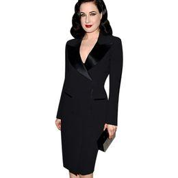Wholesale Long Sleeve Womens Work Elegant - New Womens Elegant Lapel Satin V Neck Patchwork Adjustable Zipper Wear to Work Office Business Sheath Pencil Dress