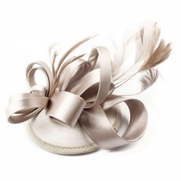Wholesale Wedding Cocktail Hats - Many Colors Decorative Feather Satin Fascinator Hair Clip Cocktail Hat foe Wedding Party Decoration