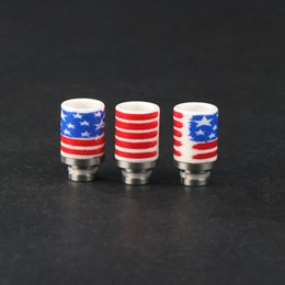 Wholesale E Cigarette Atomizer Usa - Ceramic Wide Bore Drip Tips with USA Flag Style 510 Drip Tip EGO Atomizer Mouthpieces for RDA RBA DCT CE4 E cigarette vaporizer