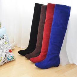 Wholesale Pull Boots - New Hot Fashion Women's Faux Suede Shoes Stretchy Low Heel Pull On Knee High Boots All Size B021