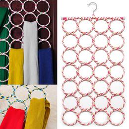 Wholesale Scarves Organizer Rings - New 28-Holes Circle Ring Rope Wraps Scarf Belt Storage Slots Holder Hanger Organizer Clothes Hangers