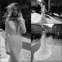 Wholesale Keyhole Wedding Gowns - 2018 Berta Long Sleeves Lace Sheath Wedding Dresses Sexy Spring Plunging V Neck Bridal Gowns Keyhole Back Court Train Vestidos De Noiva