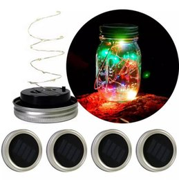 Wholesale Wholesale Lids For Jars - led Solar Powered LED Mason Jars Light Up Lid 10 LED String Fairy Star Lights Screw on Lids for Mason Glass Jars new year Christmas Lights