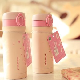 Wholesale Stainless Steel Thermos Free Shipping - Free shipping 355ml Starbucks sakura bottle thermos double stainless steel vacuum cup fashion female models