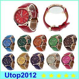 Wholesale Cute Watches For Men - Luxury Geneva Watches Roman Numerals Watch Wrist Watch Faux Leather Colorful Candy Cute Quartz Exquisite Wrist For Men Womens