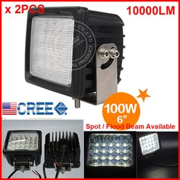 """Wholesale Heavy Truck Led - 2PCS 6"""" 100W 20LED*5W CREE LED Driving Work Light Square Offroad SUV ATV 4WD 4x4 Spot   Flood Beam 9-30V 10000lm POWER Heavy Duty Truck Fork"""