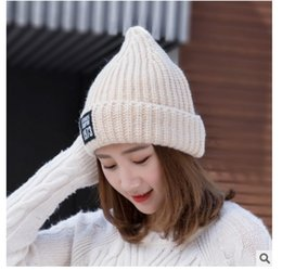 Wholesale Good Sun Hats For Men - Knitted Wool Hat For Women Real 1973 Lovely Thick Warm Women's Caps Good Quality Hats For Autumn Winter Beanies