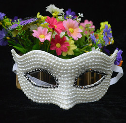 Wholesale Celebrity Wedding Gifts - Noble Pearl White Princess Mask Halloween Venice Beautiful Women Mask Christmas Gift Favors Party Supplies Performance Decoration 12pcs lot