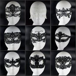 Wholesale Cheap Masquerade Party Decorations - Cheap Sale Fashion Design Black White Lace Masquerade Face Masks For Halloween Xmas Party Decorations Jewelry Supplies Free Shipping