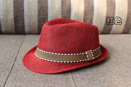 Wholesale Kids Summer Hats Sale - 2016 Sale Summer New Fashion Kids Boy Girl Unisex Fedora Hats Cap for Children Contrast Trim Cool Jazz Chapeu Feminino Trilby Sombreros