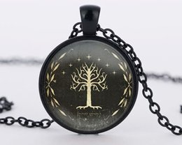 Wholesale Vintage Chain Maxi - LOTR White Tree pendant lord of the necklaces vintage glass pendant maxi Necklace jewelry best friend gift bijouterie
