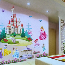 Wholesale New Room Wallpaper - 2016 new fashion retail Removable Kids' Bedroom 3D Princesses frozen Castle Wall Stickers Wallpaper Decal Decor