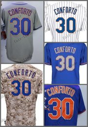 Wholesale Michael New - New York 30 Michael Conforto white blue 2015 Baseball Jersey Cheap Rugby Jerseys Authentic Stitched Free Shipping Size 48-56