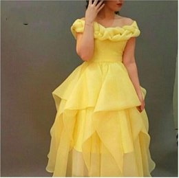 Wholesale Navy Blue Princess Organza - Fairty Style Princess Yellow A Line Prom Dresses Arabia Off the Shoulder Elegant Short Hi-lo Party Gowns Homecoming Vestidos De Festa Abaya