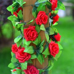 künstliche blumen girlanden großhandel Rabatt Wholesale-2.5m Silk künstliche Rose Blume gefälschte künstliche Ivy Vine hängende Girlande nach Hause Hochzeitsdekor Party Dekoration