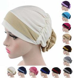 Wholesale purple winter scarf - 6Pcs Lot New Fashion Woman Muslim Flowers Stretch Head Scarf Headwrap Lady Turban Hat Cancer Chemo Cap
