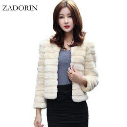 Wholesale Short Gilet - Autumn New Fashion Women Faux Fur Jacket Elegant Faux Rabbit Fur Coat Short Slim Outerwear Fur gilet fourrure abrigo de pelo q171137