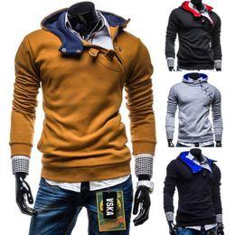 Wholesale Inclined Zipper Jacket - Men's Clothing Fashion Inclined zipper man fleece side zipper Hoodies & Sweatshirts Jacket Sweater Assassins creed Size M-3XL
