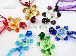 Wholesale Italian Murano Glass Pendants - Tortoise murano glass pendant necklace Fashion mix Italian venetian Lampwork 3D Flower glass jewelry