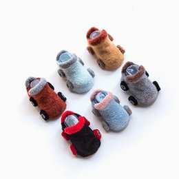 Wholesale Baby Clothes Car Cartoon - New Hot Sell Winter cartoon car baby socks boy non-slip plastic floor toddler girls shoes socks Baby Kids Clothing 6 Colors A7905